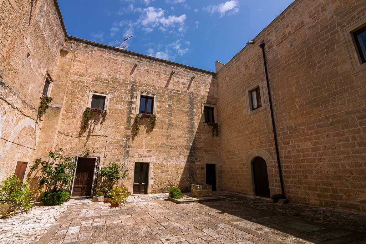 This photo shows the inner courtyard at Palazzo Palmieri