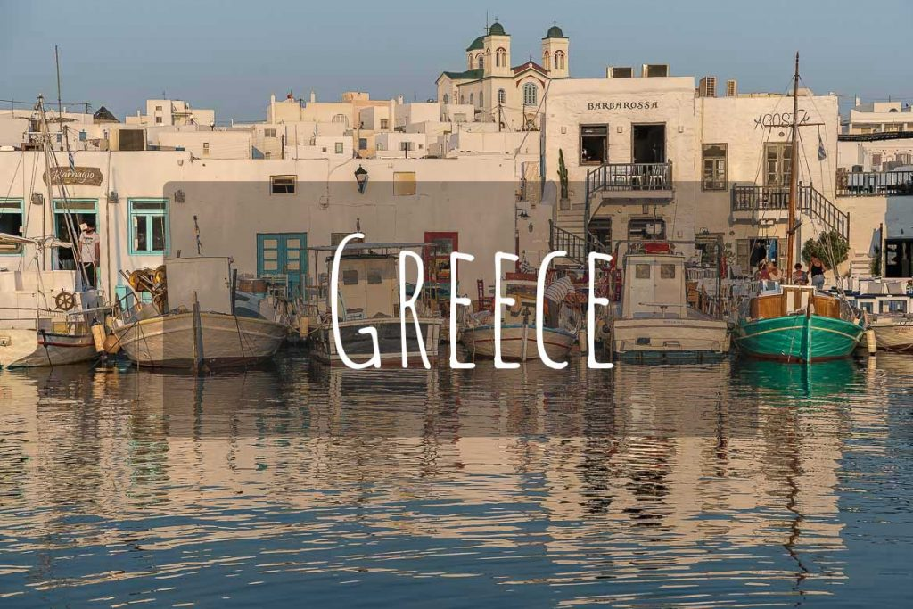 This image shows the traditional old port of Naoussa in Paros Greece. This photo is the cover of Greece as a destination.
