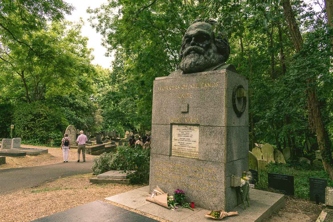 This photo shows the tomb of Karl Marx in Highgate Cemetery East in London, England. No Highgate Cemetery Tour is complete without a visit to the resting place of the father of socialism.