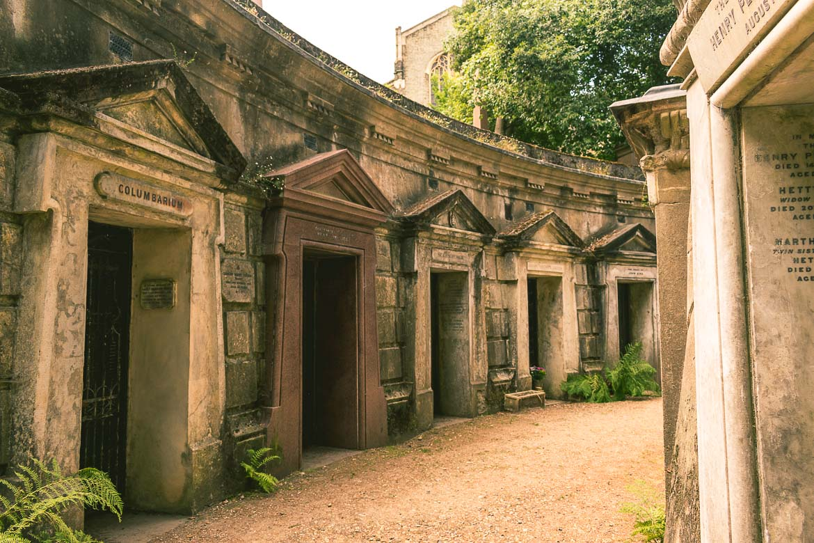 This photo shows the circle of Lebanon, a row of Classical style tombs in Highgate Cemetery West in London, England. A Highgate Cemetery tour is a must for all Victorian London enthusiasts.