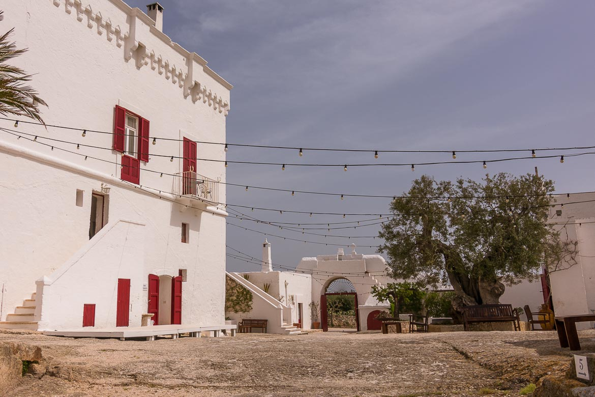 This is the main courtyard at Masseria Torre Coccaro in Puglia Italy.
