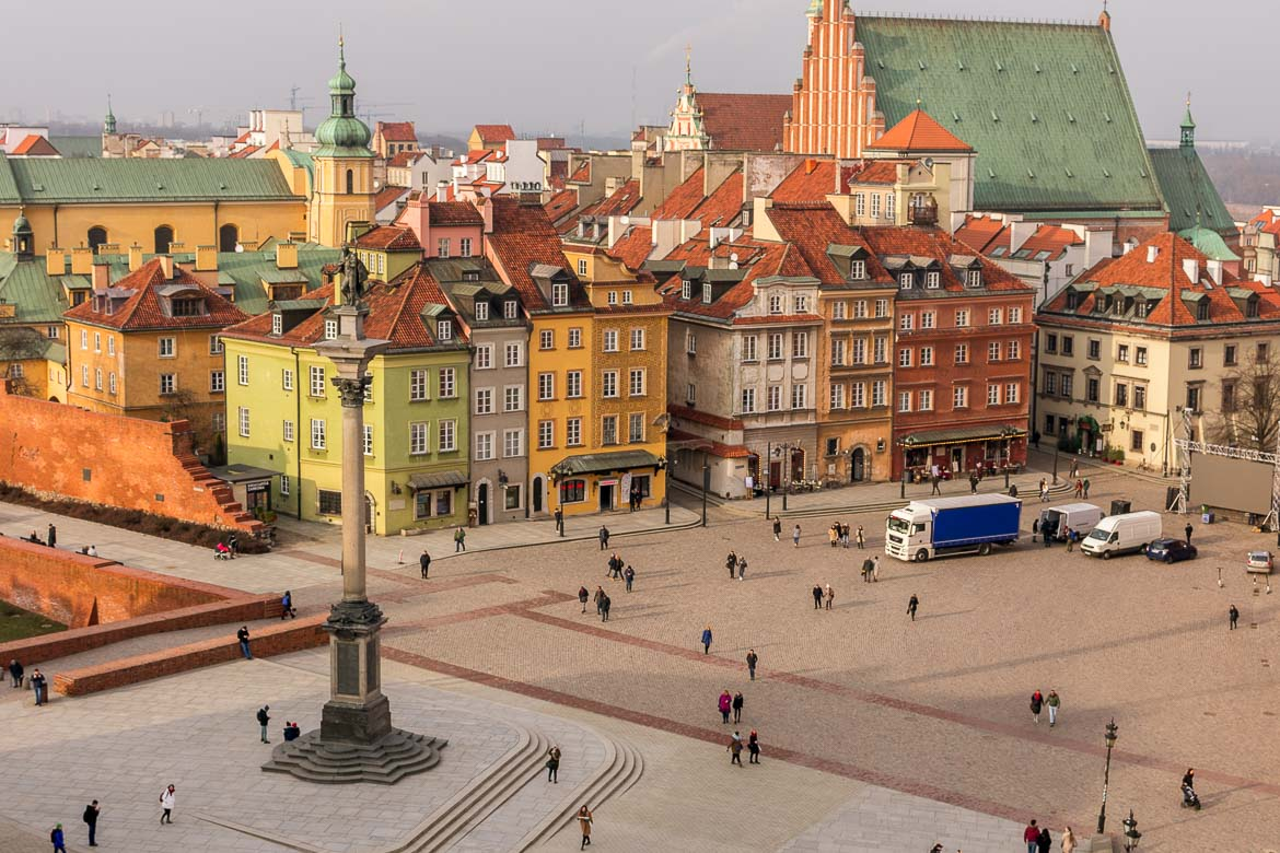 This is a panoramic shot of Warsaw Old Town. Learning how to afford to travel means visiting off-the-beaten-path destinations like the Polish capital.