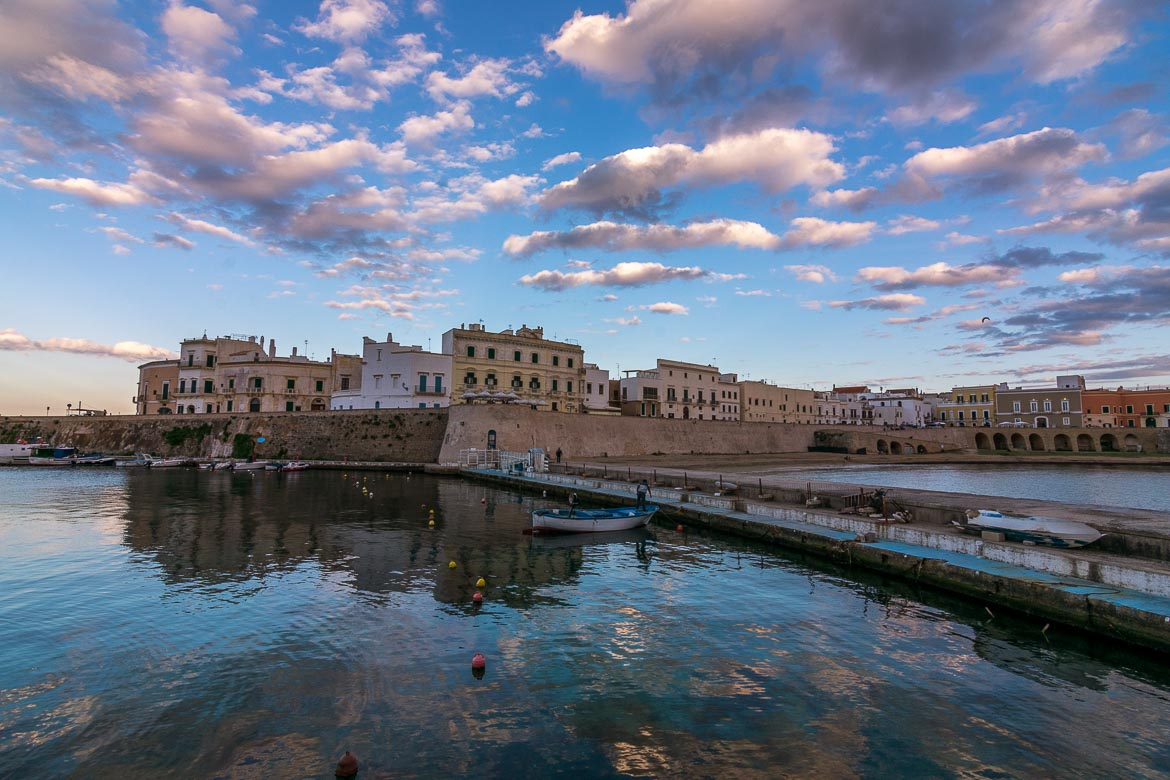 This is a panoramic photo of Gallipoli, Puglia, Italy.