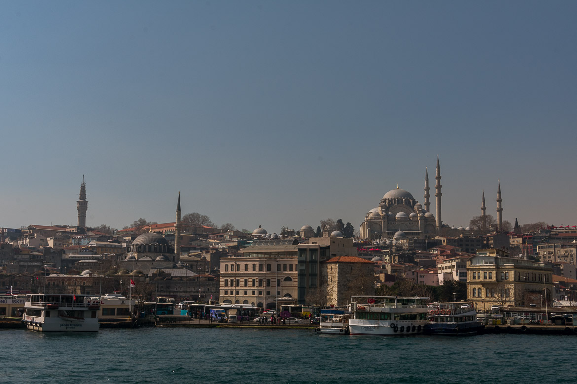 This is a panoramic shot of Istanbul taken from Galata Bridge.