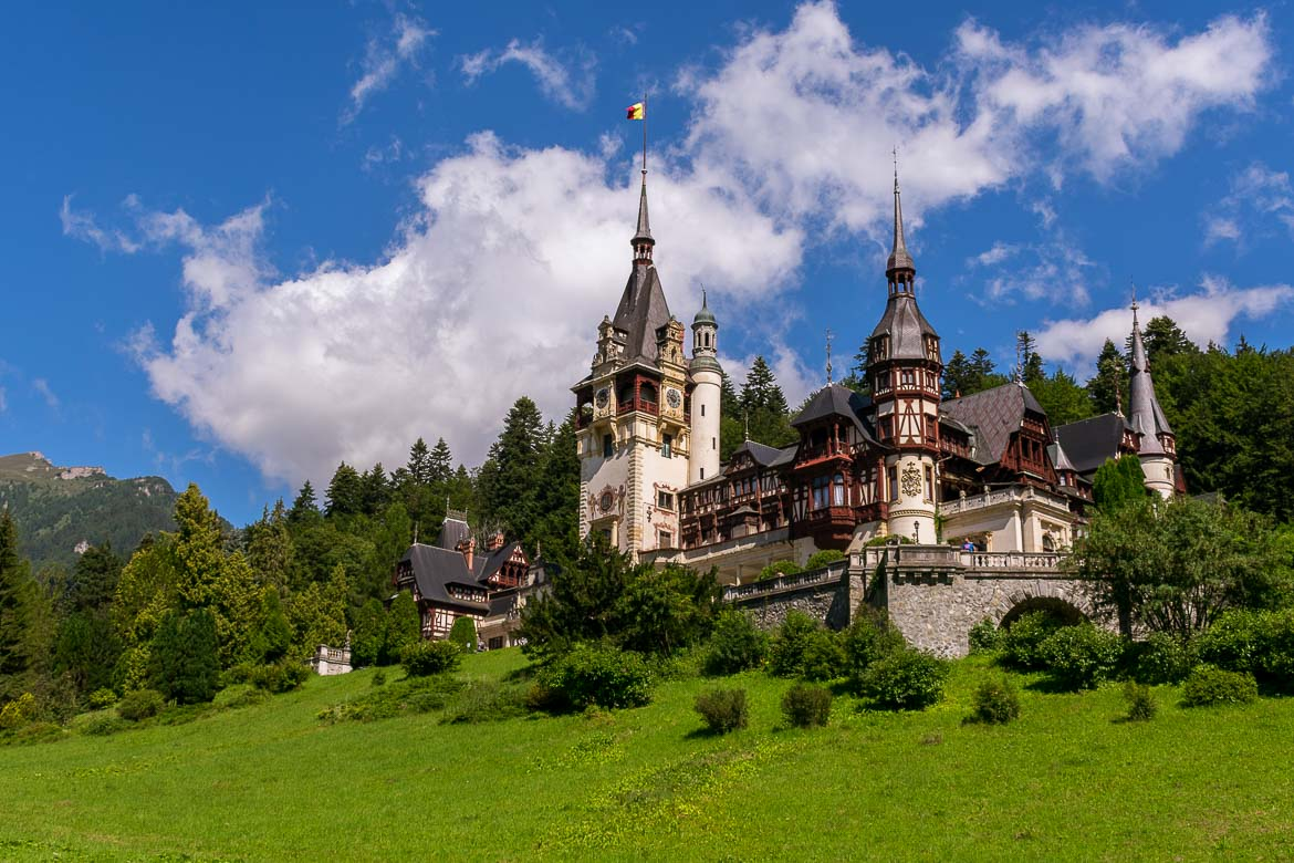 This is a close up of Peles Castle in Romania.