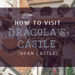 This image shows the interior courtyard of Bran Castle. This is an optimised image for Pinterest. There is overlay text that reads: How to visit Dracula's castle (Bran Castle). If you like our article, please pin this image!