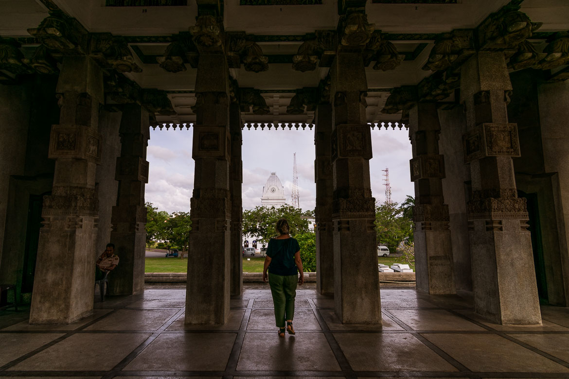 This photo shows Maria wandering around the columns of Independence Memorial hall.