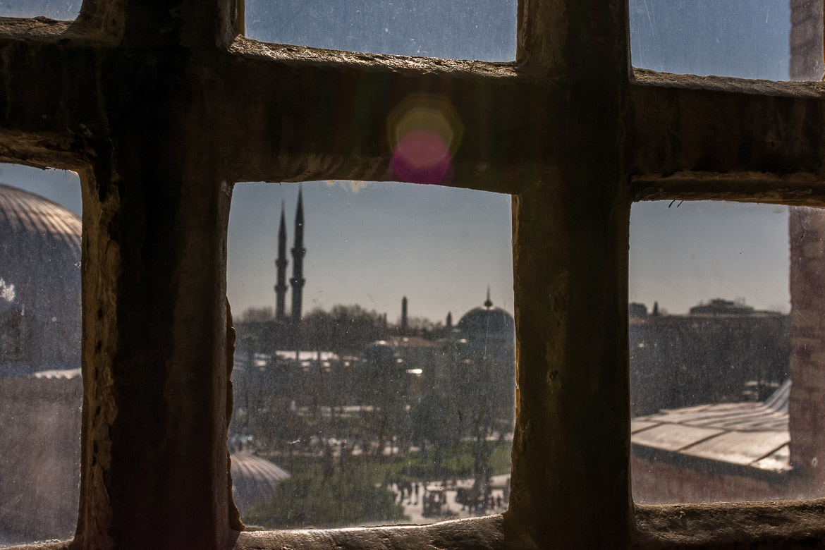 Stealing a glance at Istanbul from inside Hagia Sophia. The best sightseeing tours in Istanbul.