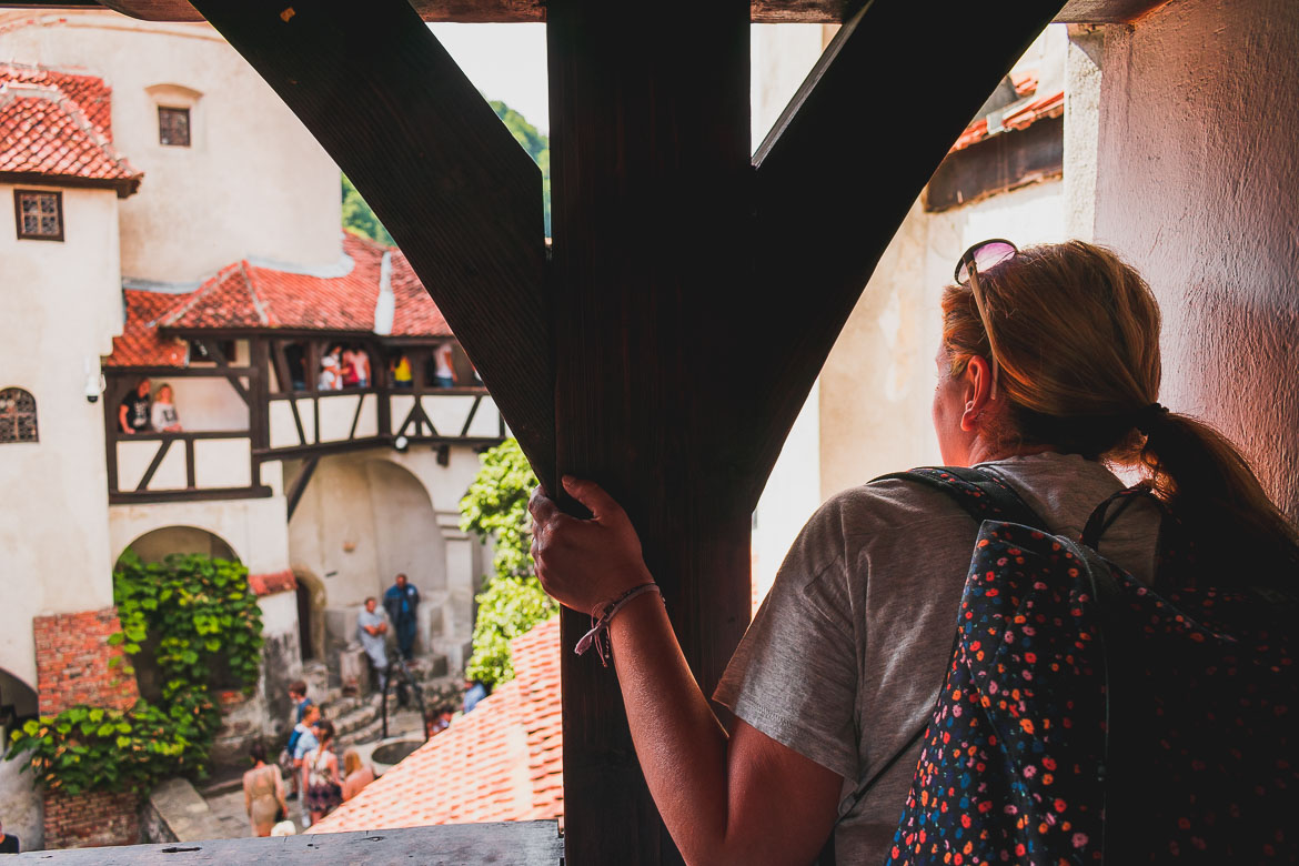 This photo shows Maria admiring the charming interior courtyard at Castelul Bran. We enjoyed our trip from Brasov to Bran Castle immensely.