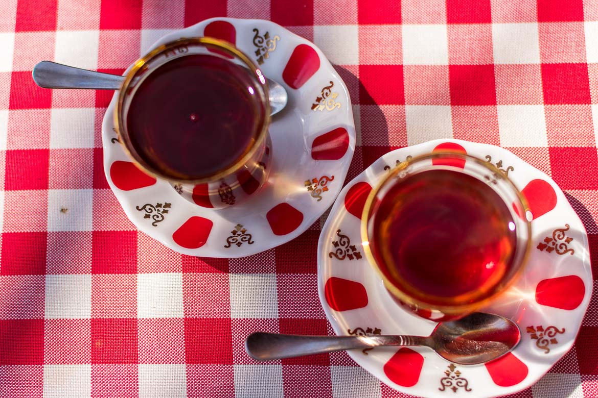Turkish çay served in small tulip-shaped glasses. Istanbul food guide: Sugar, spice and love.
