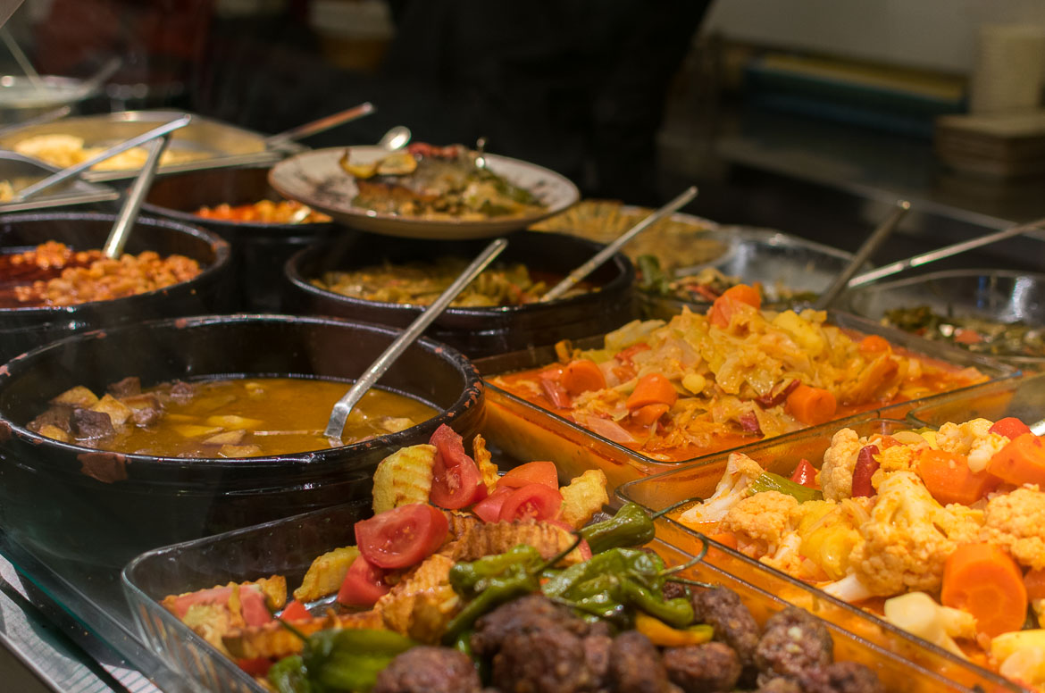 Traditional restaurants in Istanbul have a wide selection of food on display to choose from. Istanbul food guide: Sugar, spice and love.