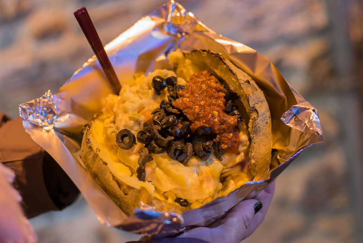 Kumpir is jacket potato the Turkish way. Istanbul food guide: Sugar, spice and love.