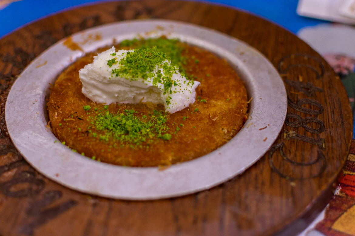 Künefe, the typical Turkish dessert, at Hafiz Mustafa. Istanbul food guide: Sugar, spice and love.