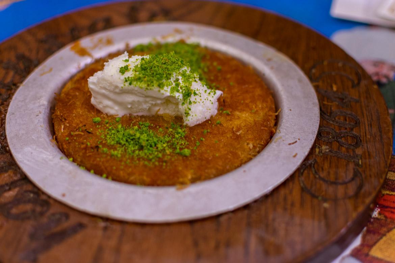 Künefe, the typical Turkish dessert, at Hafiz Mustafa. Istanbul food guide: Sugar, spice and love.
