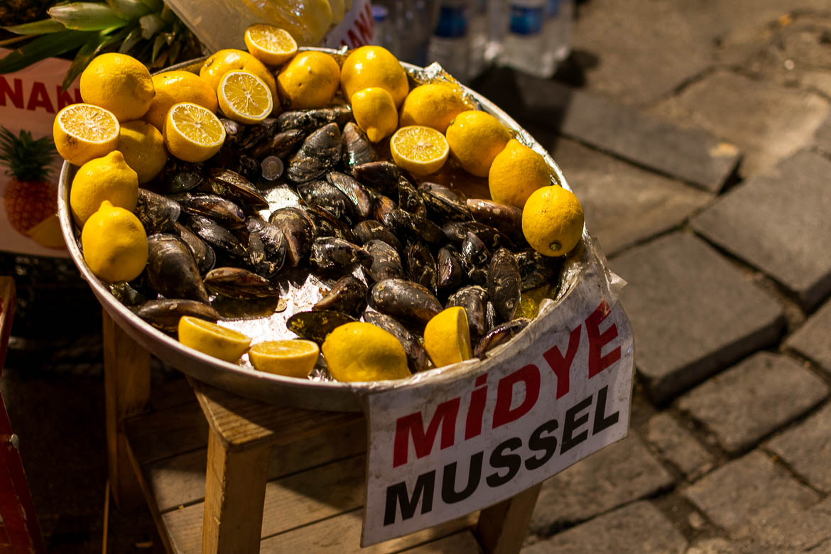 Mussels are a common street food in Istanbul. Istanbul food guide: Sugar, spice and love.