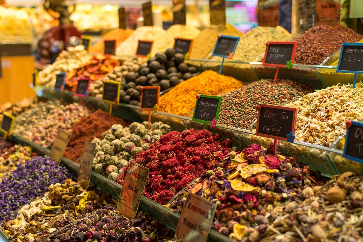 Spices, nuts and dried fruit and flowers on display at the Spice Market. Istanbul food guide: Sugar, spice and love.