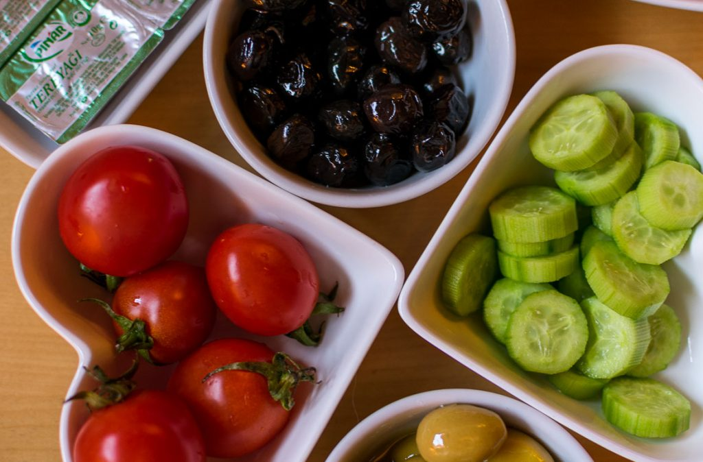 Turkish breakfast always has a wide selection of fresh products, such as tomatoes, cucumbers, olives etc. Istanbul food guide: Sugar, spice and love.