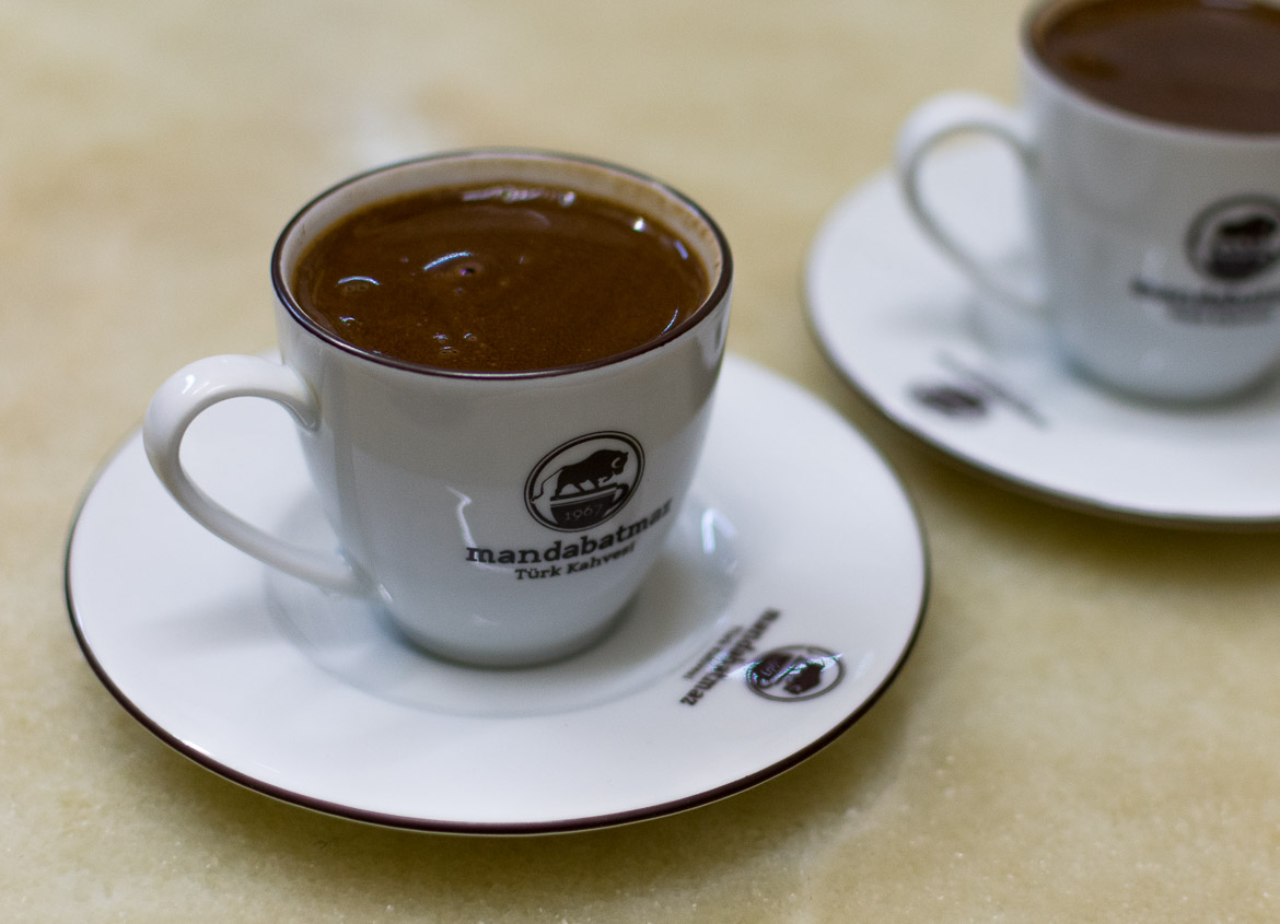 Turkish coffee at Mandabatmaz, a traditional coffee shop in the heart of the city. Istanbul food guide: Sugar, spice and love.