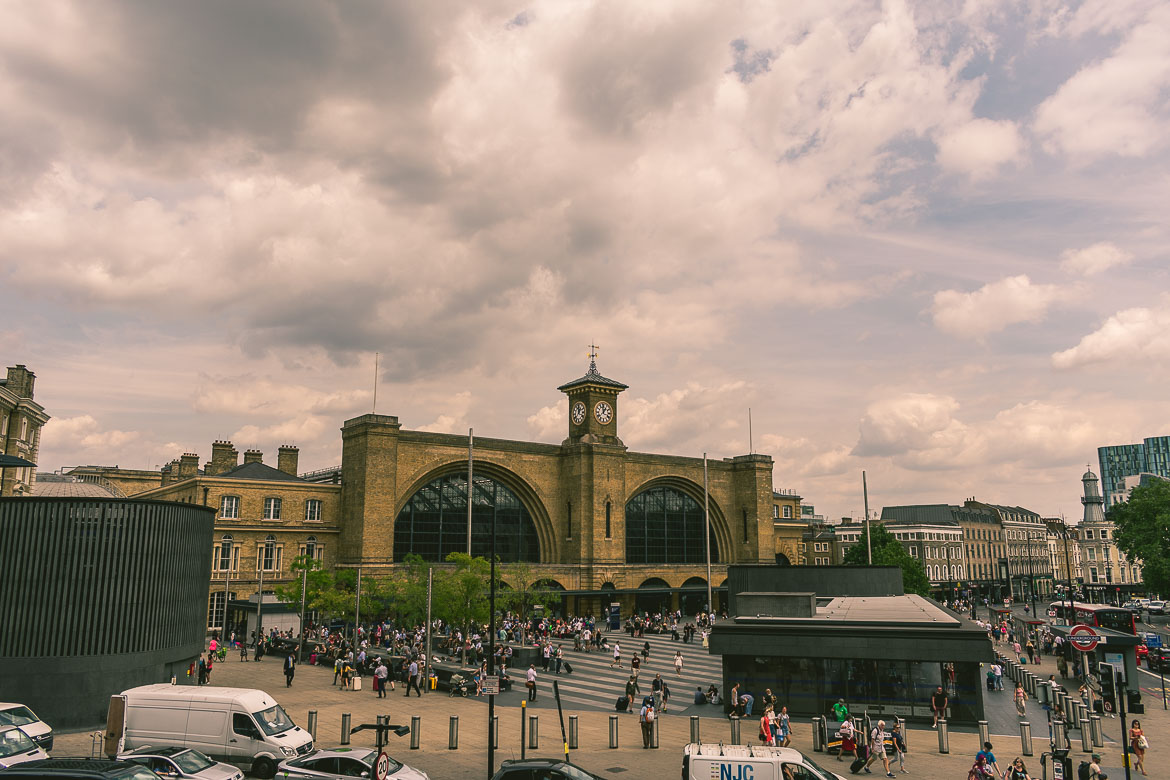 This photo shows King's Cross station in London, England. A fine example of Victorian London architecture.