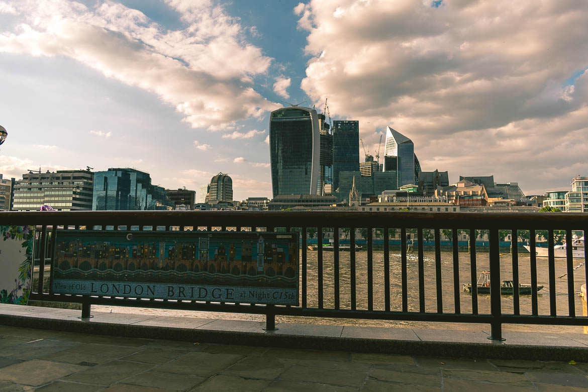 This is a photo of London Bridge, London, England. South Bank walk.