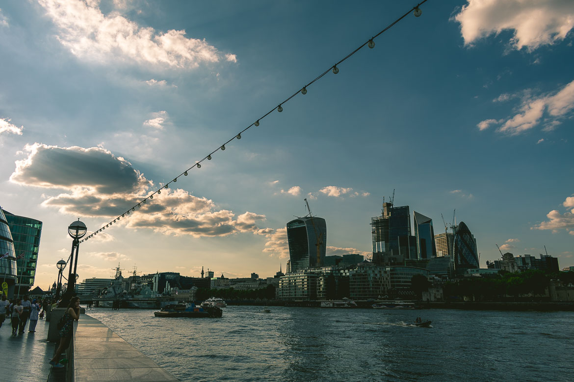 This is a photo taken near the City Hall during our South Bank walk in London, England at sunset.