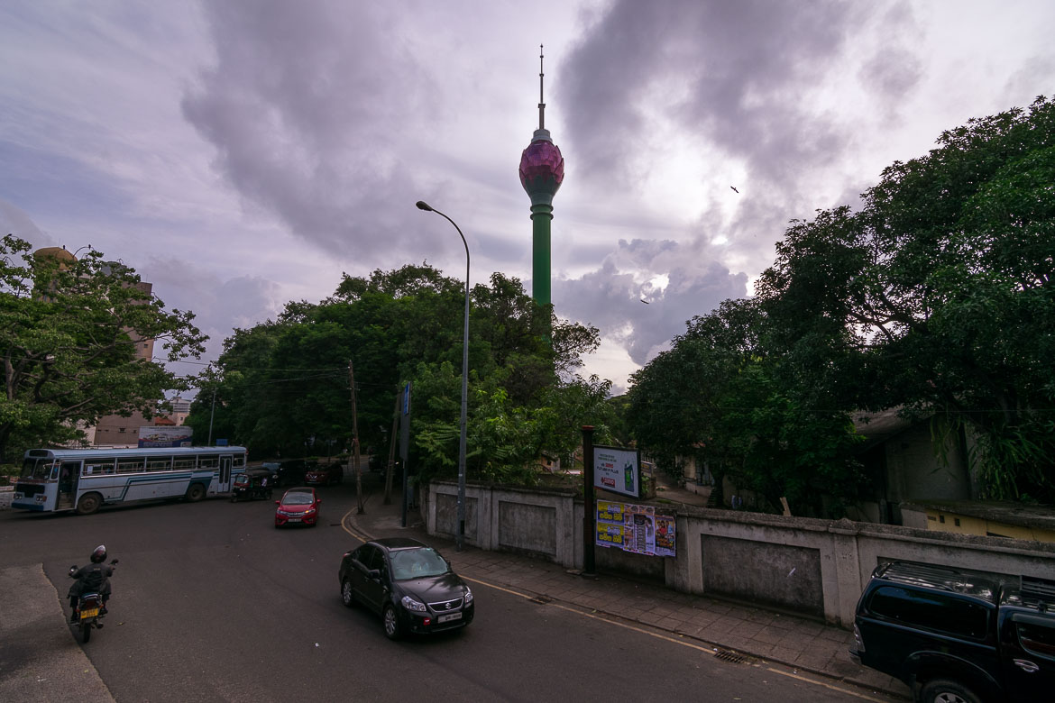 This photo shows the Lotus Tower dominating the sky of Colombo.