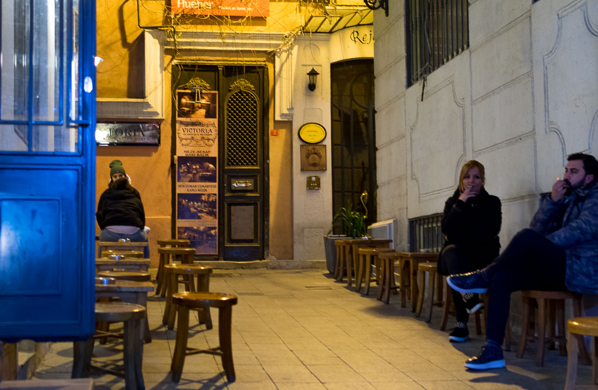 Outdoor seating at quaint Mandabatmaz, a traditional coffee shop in Istanbul, famous for its Turkish coffee. A delicious food tour in Istanbul Turkey.
