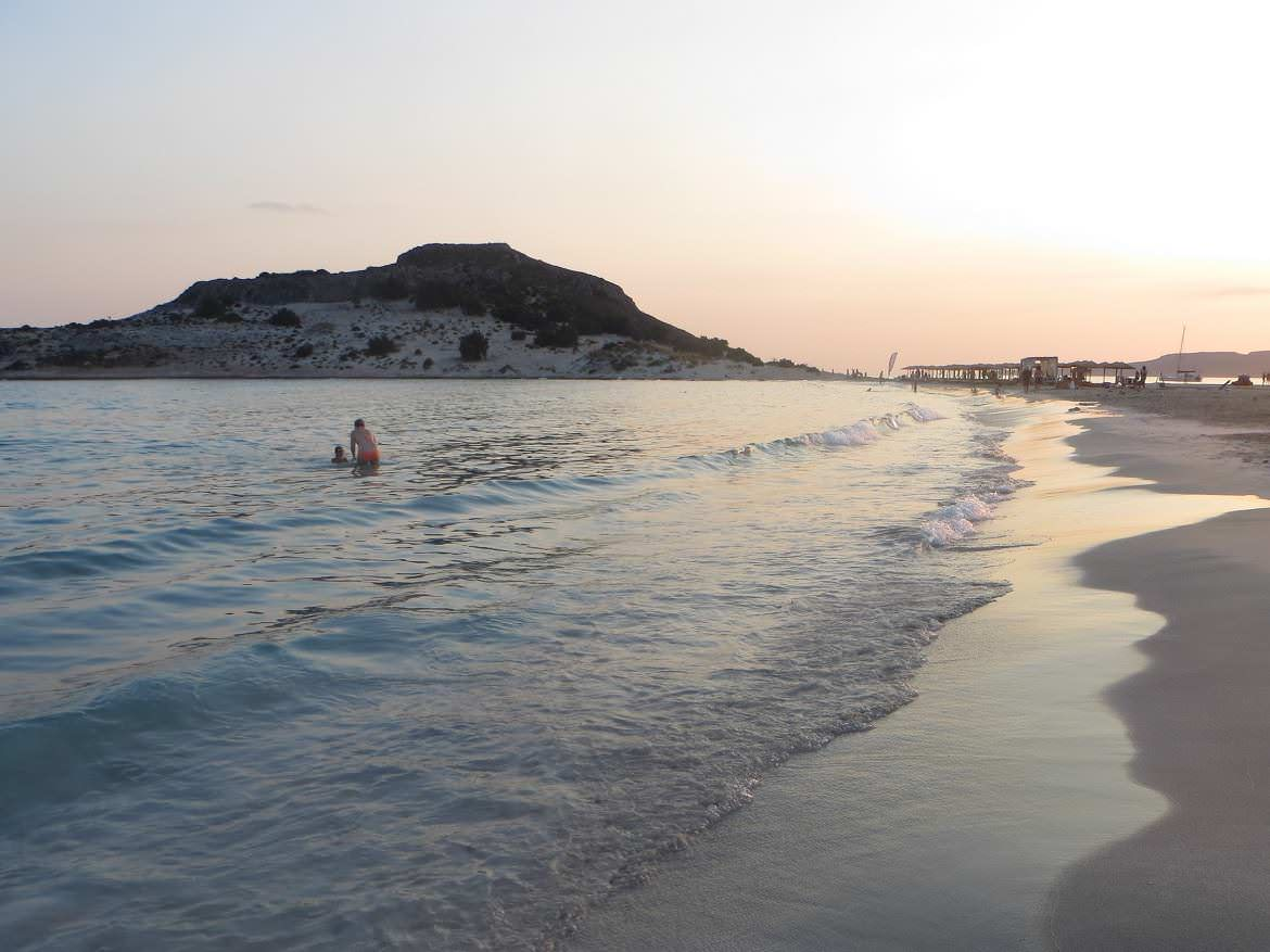This is a photo of Mikros Simos beach in Elafonisos, Greece, at sunset.