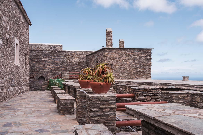 This image shows the outside area of Agia Irini Monastery.