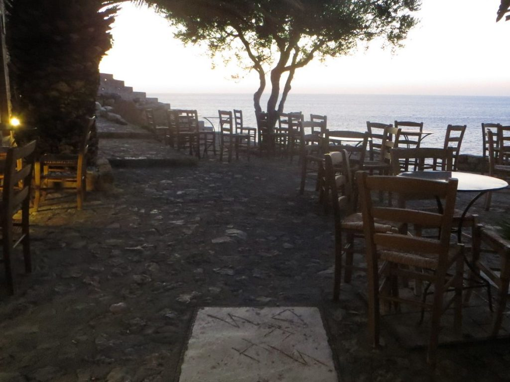 Cafe Malvasia, Monemvasia Castle at sunrise. Summer in Greece. Monemvasia Castle Travel Guide.