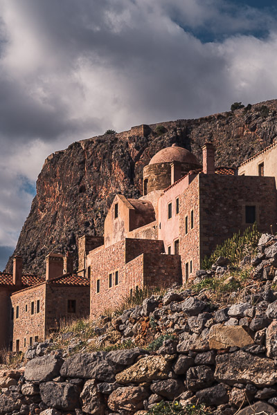 This is an image of some buildings inside Monemvasia Castle.