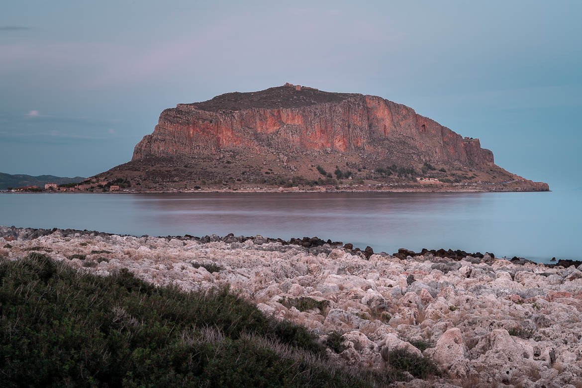 This is an image of the rock of Monemvasia from a distance, specifically from the coastal road that leads to Elafonisos.