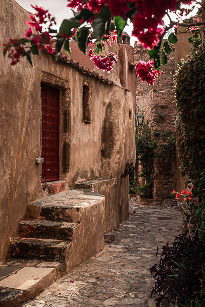This image shows a gorgeous alley in Monemvasia Castle.