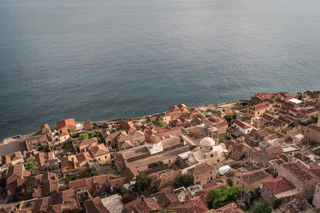 This is a panoramic shot of the Lower Town of Monemvasia Castle as seen from the Upper Town.