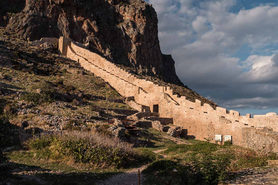 This photo shows the Eastern Wall of Monemvasia Castle which is completely renovated.