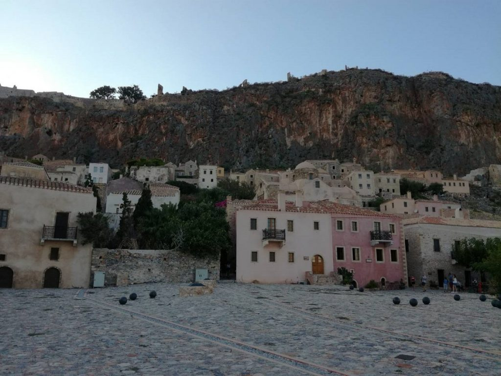 Chrysafitissa square in the Castle of Monemvasia. Summer in Greece. Monemvasia Castle Travel Guide.