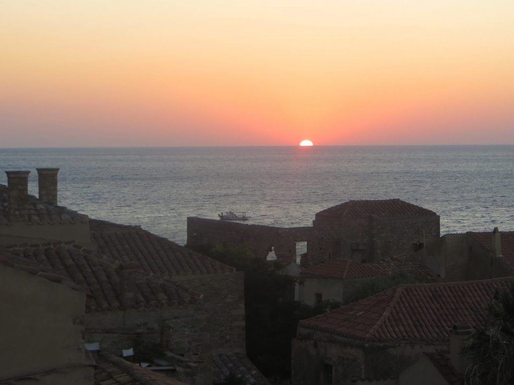 Castle of Monemvasia sunrise. Summer in Greece. Monemvasia Castle Travel Guide.