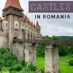 This is a close up of Corvin Castle in Transylvania. There is an impressive drawbridge with a running stream below it. This is an optimised image for Pinterest. There is overlay text that reads: 7 must-see castles in Romania. If you like our article, please pin this image.