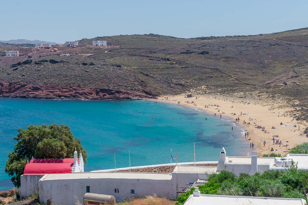 This is a panoramic shot of the long and sandy Agios Sostis Beach.