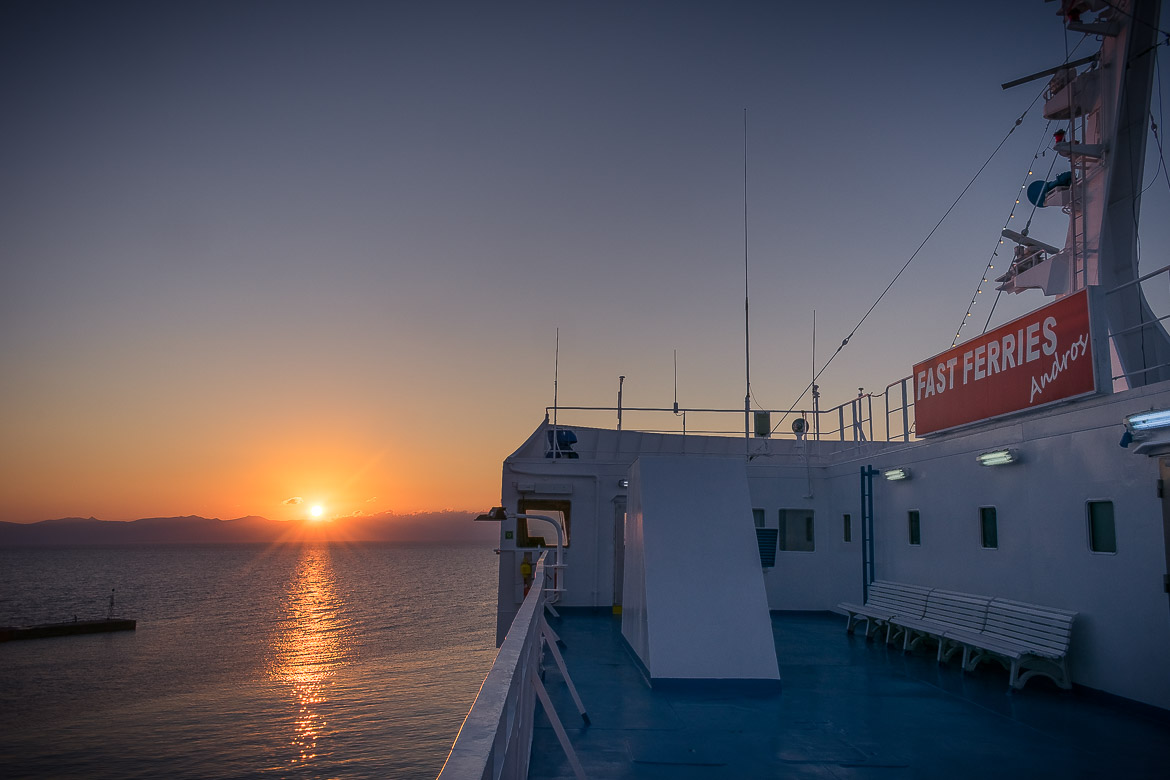 This photo was shot on board Fast Ferries Andros, one of our favourite ferries, during sunrise.