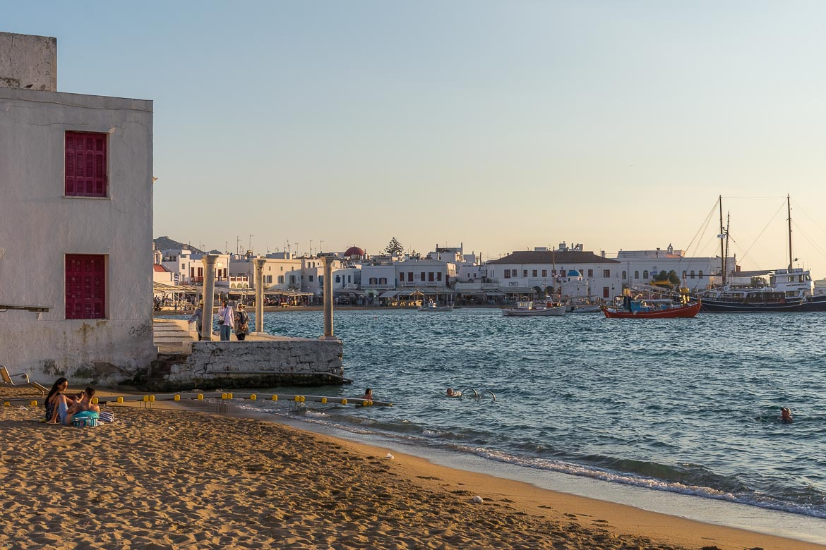 This photo shows the quaint Old Port in Mykonos Town which has wonderful views to the Old Town.