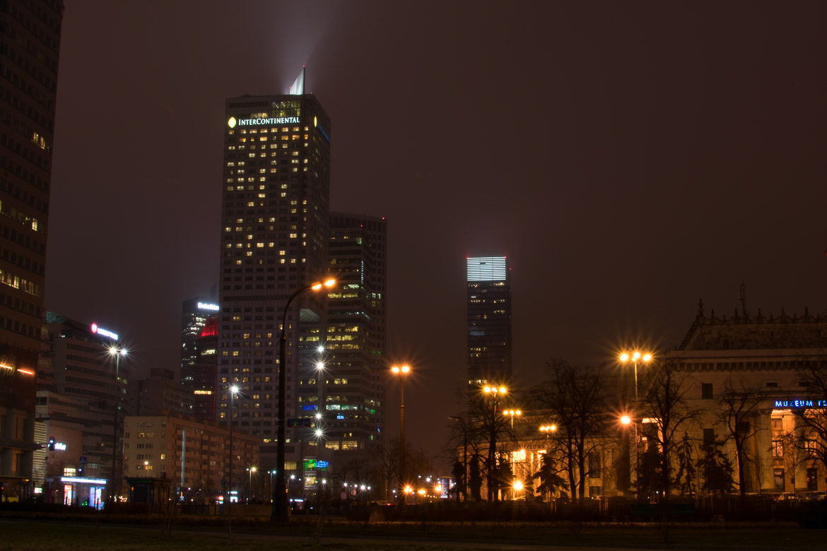 Warsaw's Manhattan-like skyline is very attractive at night. Winter in Warsaw. Top things to do and Warsaw city guide.