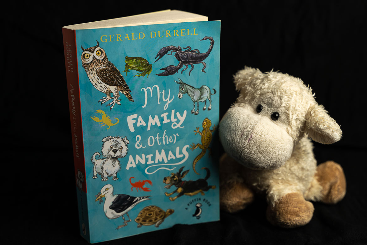 This image shows a paperback edition of My Family and other Animals by Gerald Durrell. Next to the book, a cute stuffed sheep.