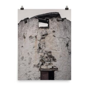 This image shows an old windmill with a broken roof on Paros Island Greece. It's our Old Windmill print, part of our Greece Prints collection, available for sale on our Print Shop!