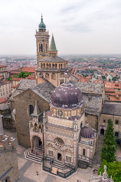 This image shows the Cappella Colleoni and the Santa Maria Maggiore church in Bergamo Italy from above. The photo was shot from the top of the nearby Civic Tower.