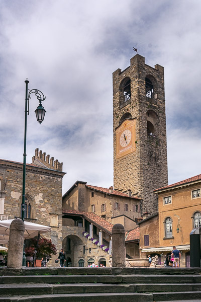 This is an image of Piazza Vecchia with the Civic Tower soaring above the square.