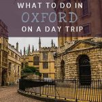 This is a close up of the Radcliffe square in Oxford. This is an optimised image for Pinterest. There is overlay text that reads: What to do in Oxford on a day trip. If you like our article, please pin this image.