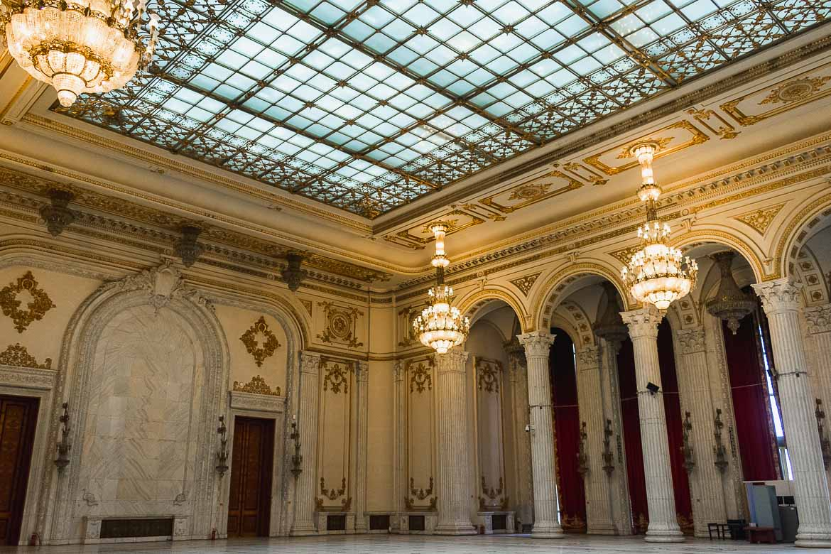 This photo shows the luxurious interior of the Palace of the Parliament, one of the top things to do in Bucharest, Romania.