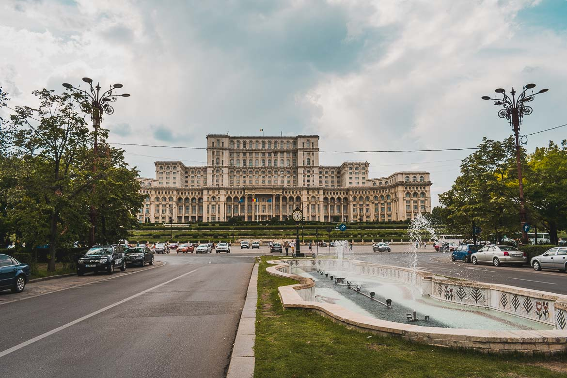 This is a photo of the palace of Parliament, an essential stop in our Bucharest walking tour of Communism, Romania.