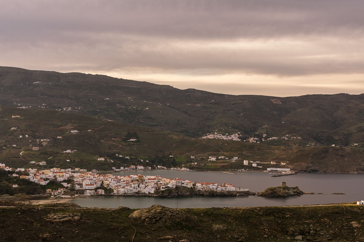 Panoramic view of Chora Andros. 13 unique things to do in Andros Greece and full Andros Guide.